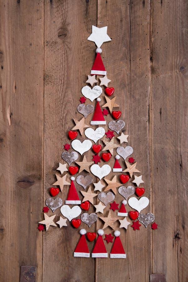 圣诞树-红色和白色装饰的新的设计 免版税库存照片