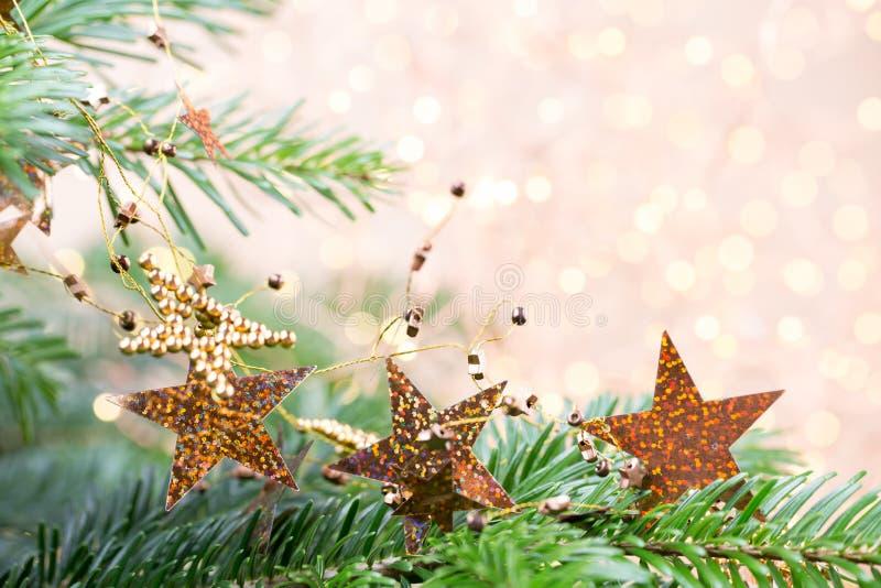 圣诞树bokeh背景 圣诞节贺卡背景 免版税库存照片