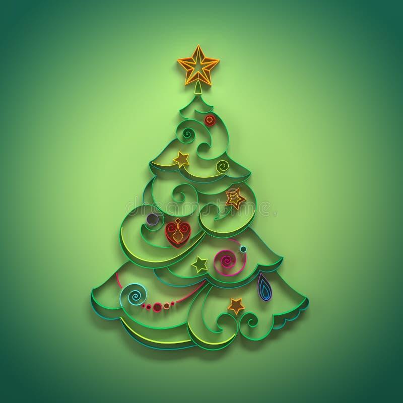 圣诞树quilling针叶树的装饰 皇族释放例证