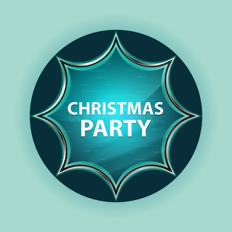 圣诞派对不可思议的玻璃状镶有钻石的旭日形首饰的蓝色按钮天蓝色背景 库存例证