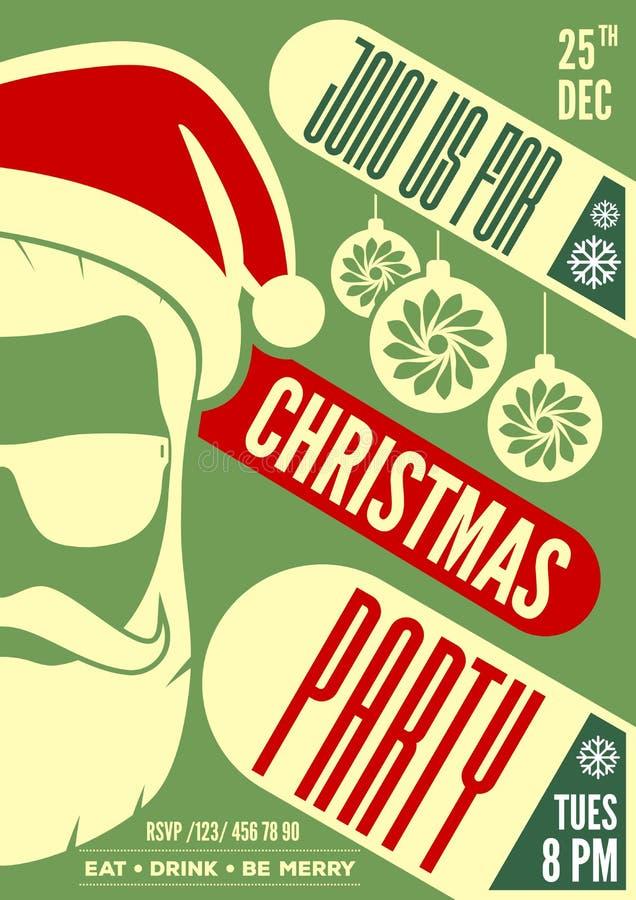 圣诞派对与圣诞老人项目帽子、胡子和玻璃的邀请、飞行物或者海报设计 皇族释放例证