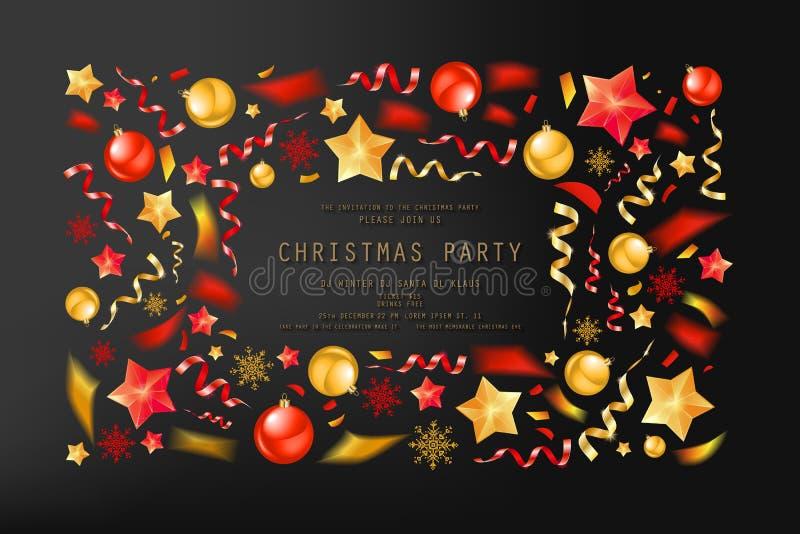圣诞派对或晚餐邀请 向量例证