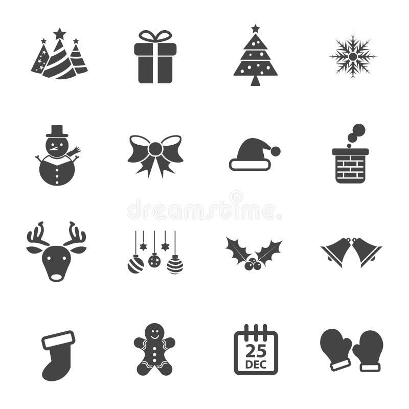 圣诞派对象传染媒介集合、平的传染媒介设计,Xmas和新年快乐概念 库存例证