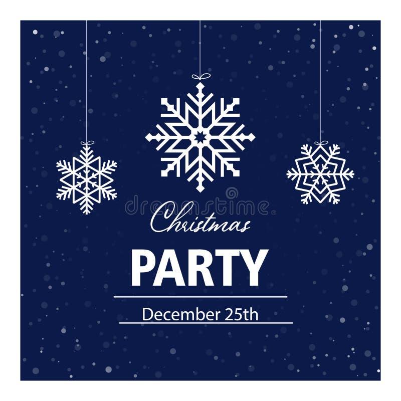 圣诞派对邀请卡,横幅,海报,明信片,传单 Vector illustration with white snowflakes and text on dark blue 库存例证