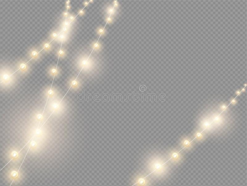 圣诞灯作用传染媒介设计元素 在透明背景的金黄颜色电灯泡 向量例证