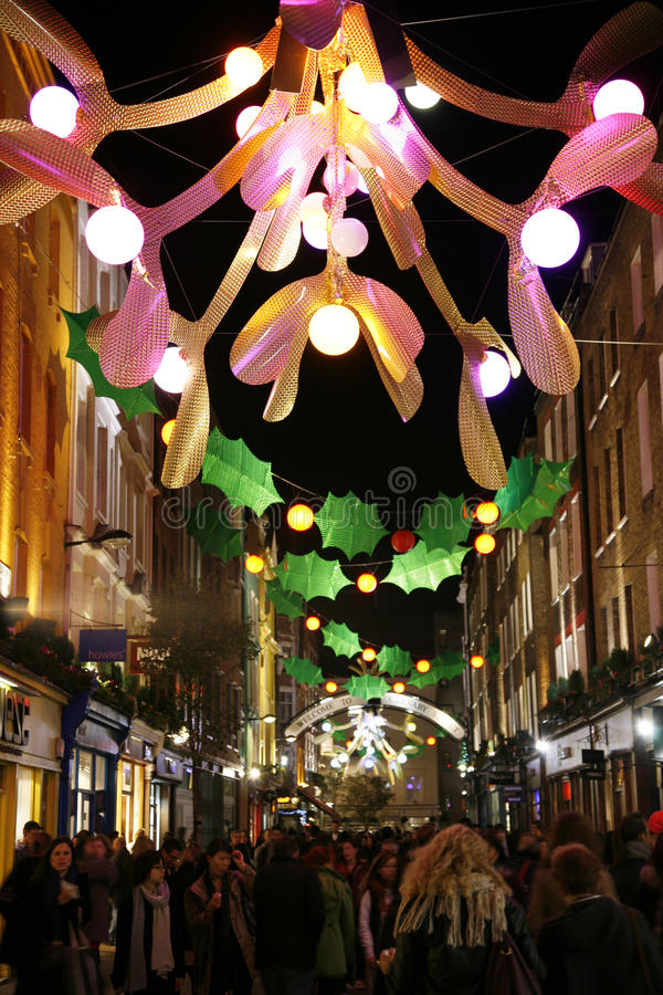 圣诞灯在伦敦 库存图片