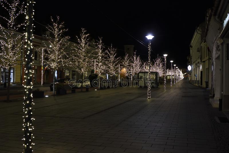 圣诞灯在科鲁Napoca,罗马尼亚的市中心 库存图片