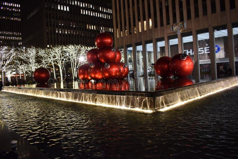 圣诞灯夜在纽约,美国 库存照片