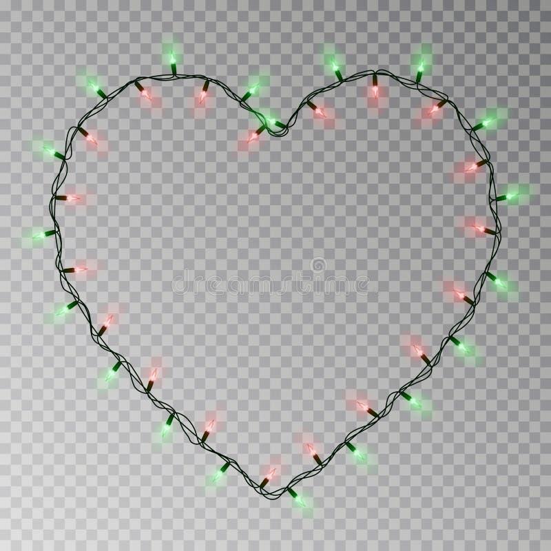 圣诞灯心脏传染媒介 在透明背景隔绝的透明轻的诗歌选 现实主义者 向量例证