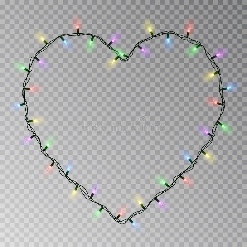 圣诞灯心脏传染媒介 在透明背景隔绝的透明轻的诗歌选 现实主义者 皇族释放例证