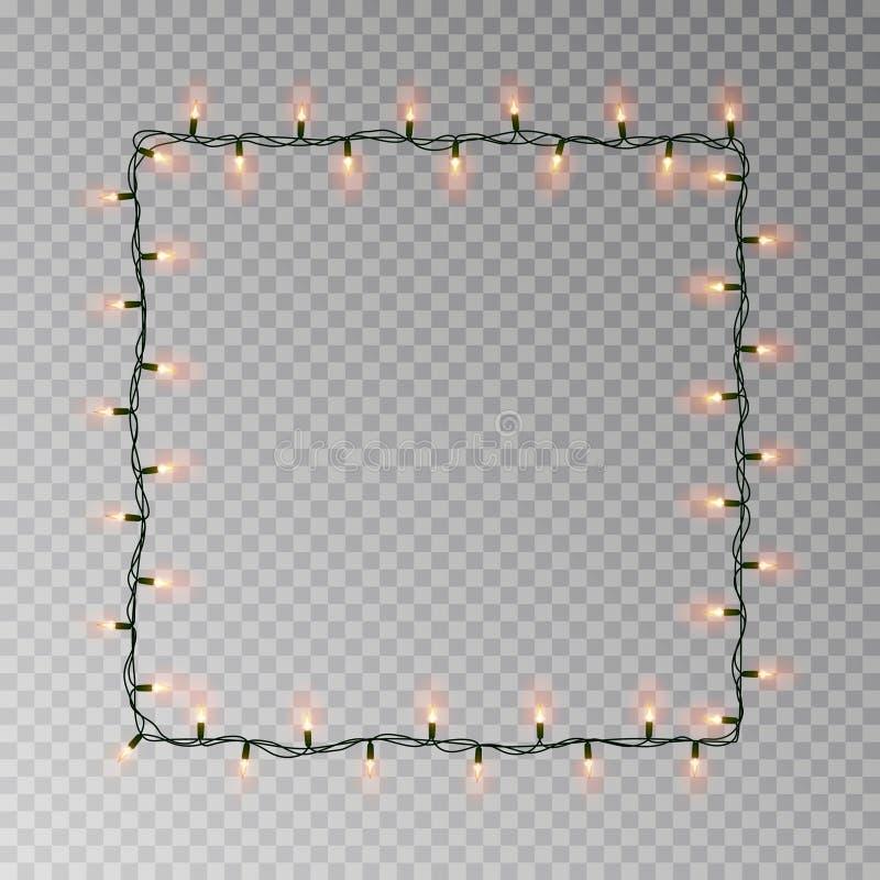 圣诞灯方形的传染媒介,在与拷贝空间的黑暗的背景隔绝的轻的串框架 tran 向量例证