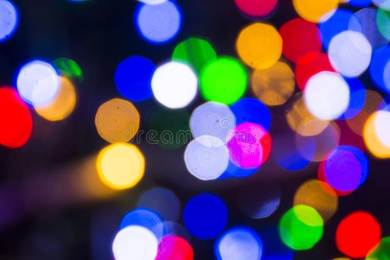 圣诞灯被弄脏的五颜六色的泡影  免版税库存照片