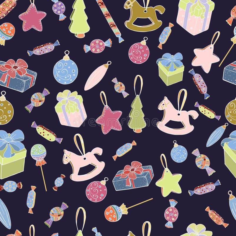 圣诞礼物和装饰品的无缝的样式在紫色背景 免版税库存图片