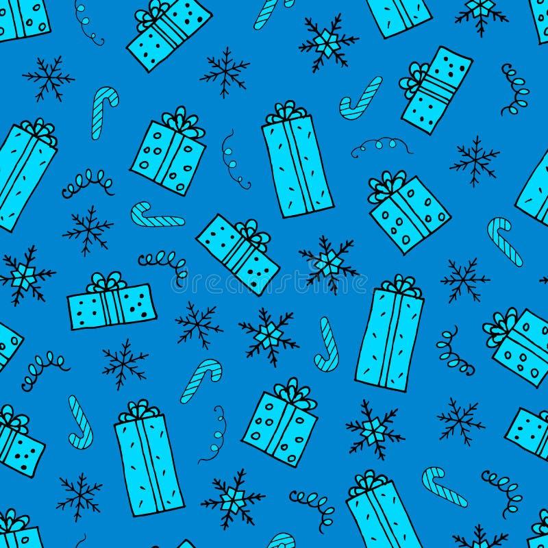 圣诞礼物无缝的样式 皇族释放例证