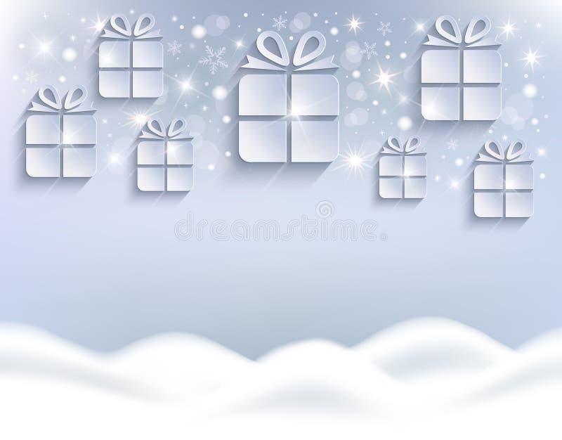 圣诞礼物背景白色贺卡的随风飘飞的雪 向量例证
