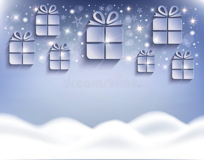 圣诞礼物背景贺卡随风飘飞的雪蓝色 皇族释放例证