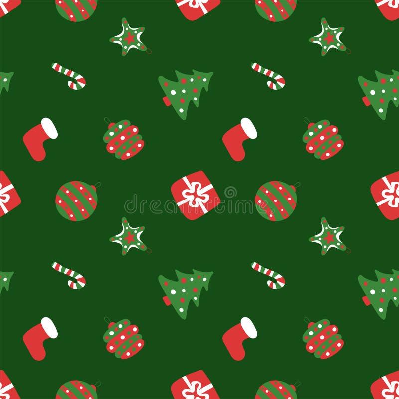 圣诞绿色图案 冬假壁纸 无缝的新年纹理 圣诞帽,树,包,礼物,棍子,铃 向量例证
