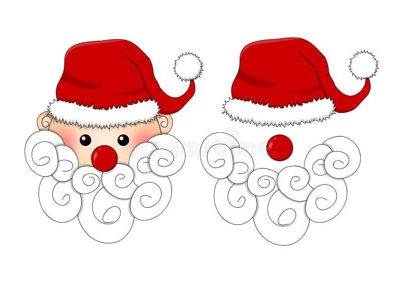 圣诞老人、圣诞老人帽子,在白色背景隔绝的红色鼻子和白色胡须 也corel凹道例证向量 库存例证