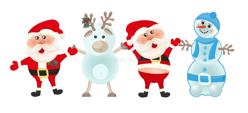 圣诞老人、雪人和驯鹿在白色背景 圣诞节节假日 冬天动画片逗人喜爱的卡片,圣诞快乐横幅 皇族释放例证