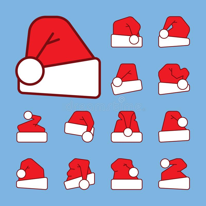圣诞老人与红颜色积土象集合的帽子概述 向量例证
