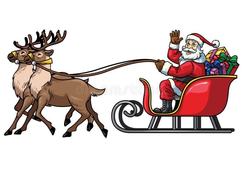 圣诞老人与驯鹿的乘驾雪橇在白色背景中 向量例证