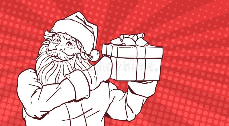 圣诞老人举行在流行艺术可笑的背景圣诞快乐和新年快乐海报设计的礼物盒白色剪影  向量例证