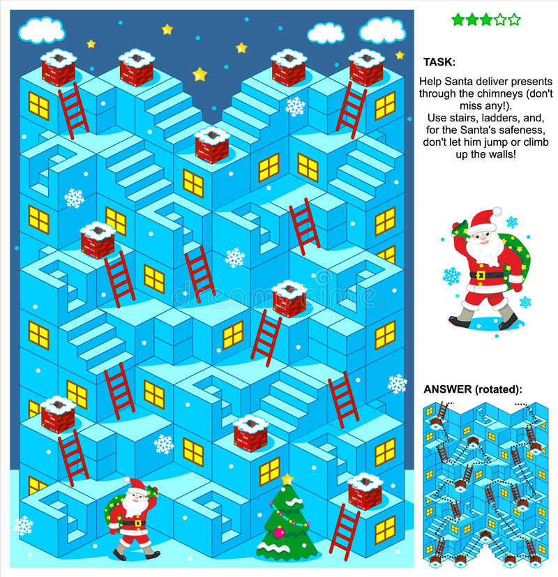 圣诞老人交付礼物3d圣诞节或新年迷宫比赛 库存例证