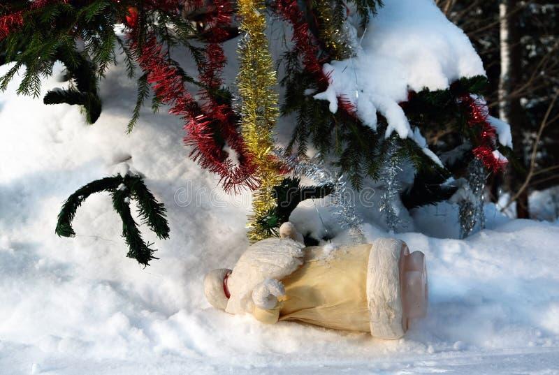 圣诞老人使了翻倒 免版税库存图片