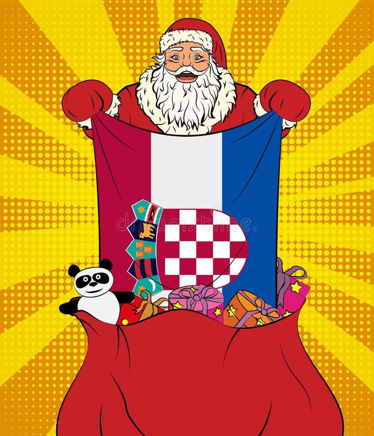圣诞老人使克罗地亚的国旗脱离与玩具的袋子在流行艺术样式 新年的例证在流行艺术样式的 向量例证