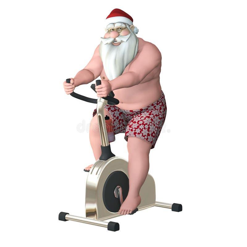 圣诞老人健身-固定式自行车 皇族释放例证