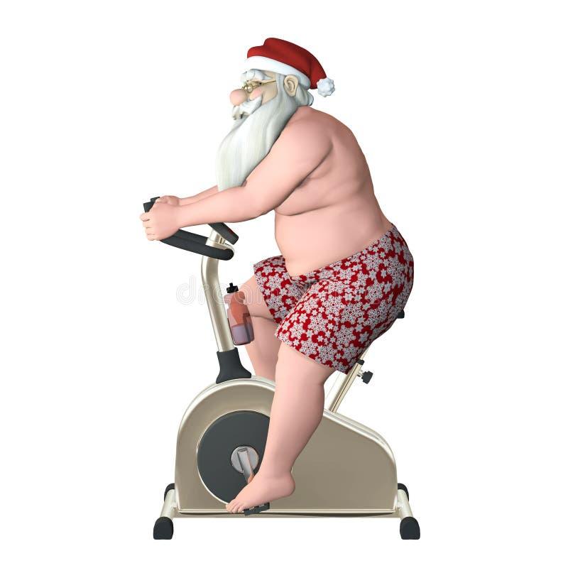 圣诞老人健身-固定式自行车Proile 向量例证