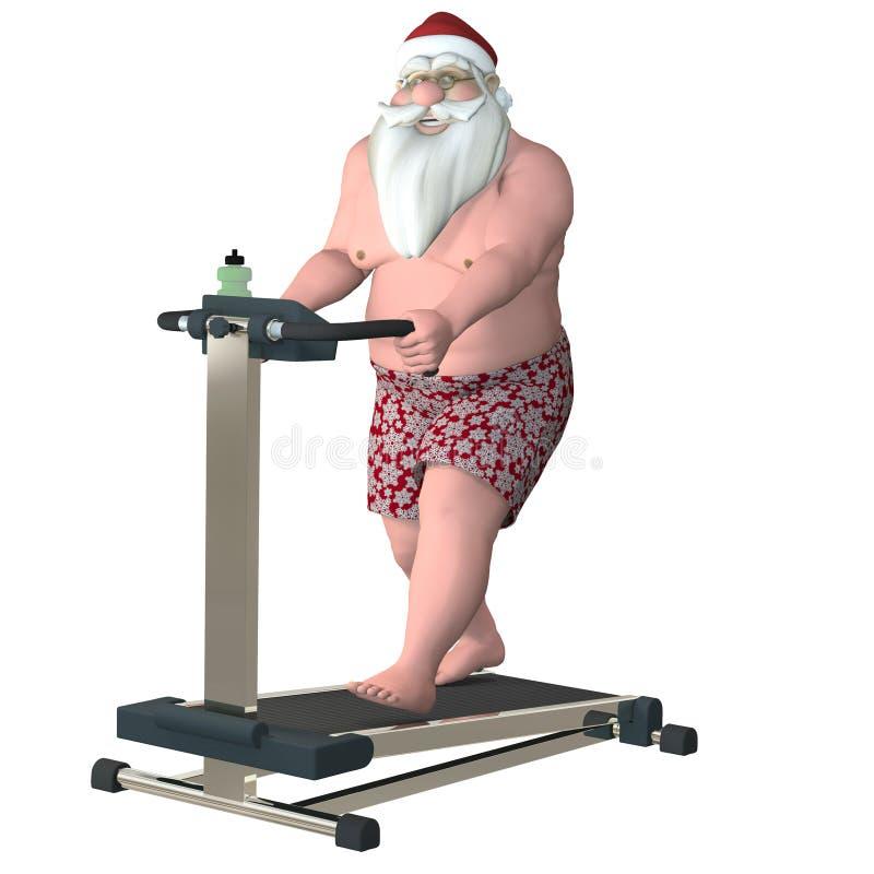 圣诞老人健身-踏车 向量例证