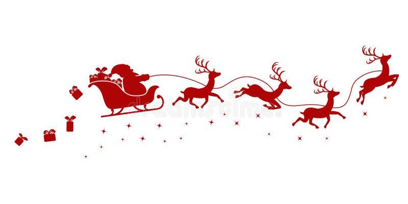 圣诞老人剪影在一次雪橇飞行的与鹿和投掷的礼物在白色 向量例证