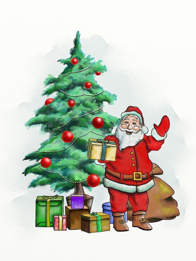 圣诞老人卡片 皇族释放例证