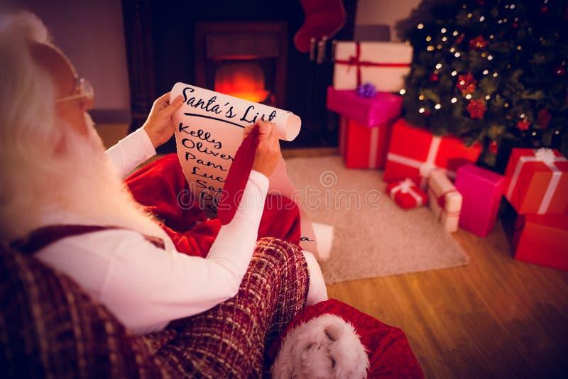圣诞老人名单的综合图象 库存图片