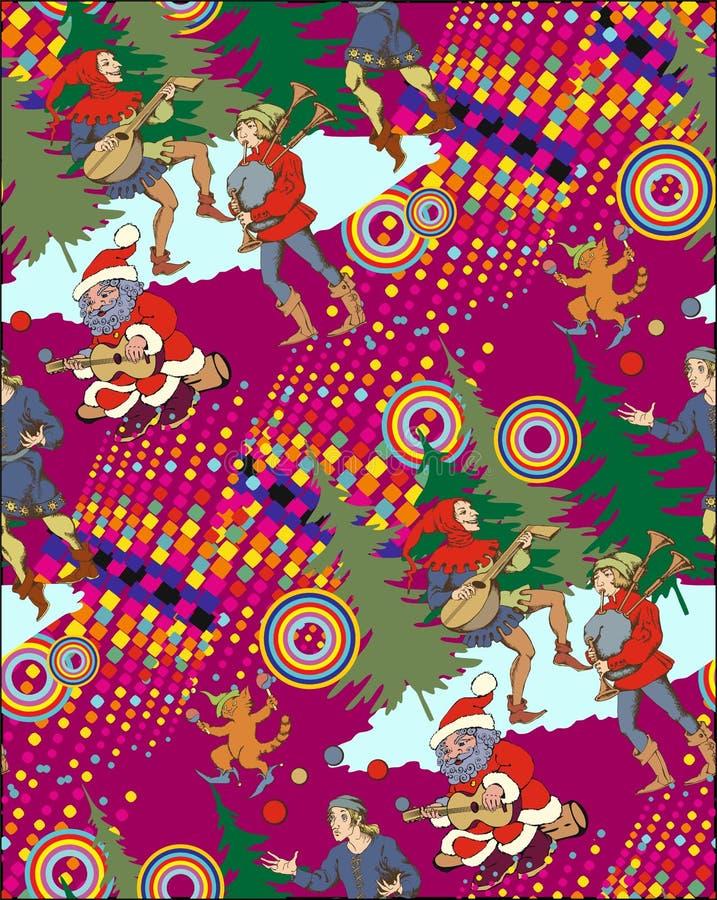 圣诞老人和中世纪变戏法者 向量例证