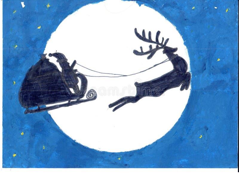 圣诞老人和他的驯鹿在月亮和深蓝天空背景 免版税库存图片