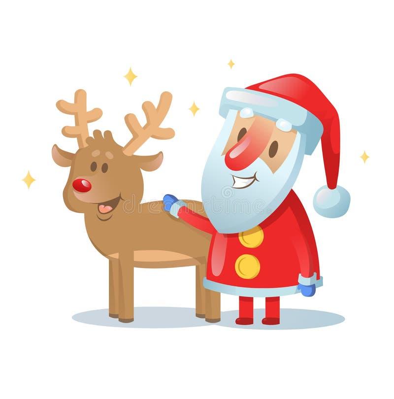圣诞老人和他驯鹿朋友微笑 Eps 10 平的传染媒介例证 查出在白色 库存例证