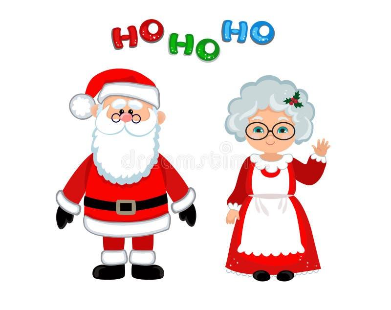 圣诞老人和克劳斯夫人常设圣诞节 库存例证