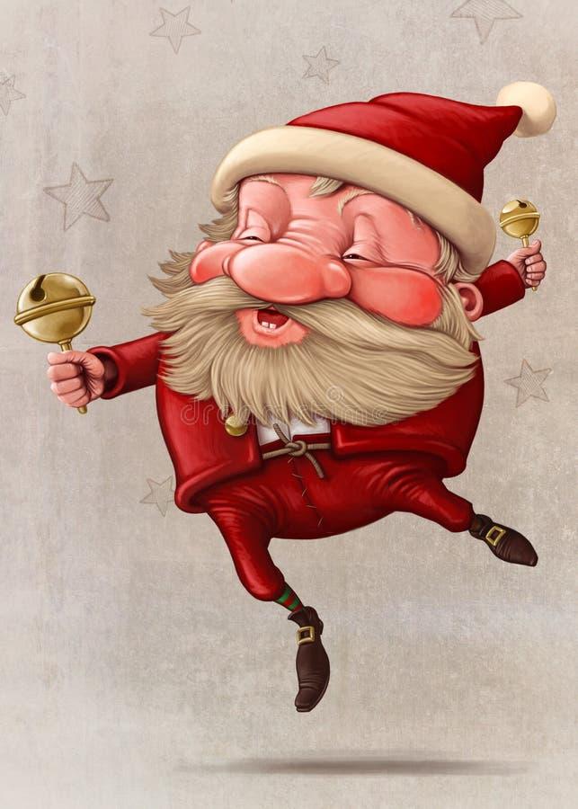 圣诞老人和响铃的跳舞 皇族释放例证