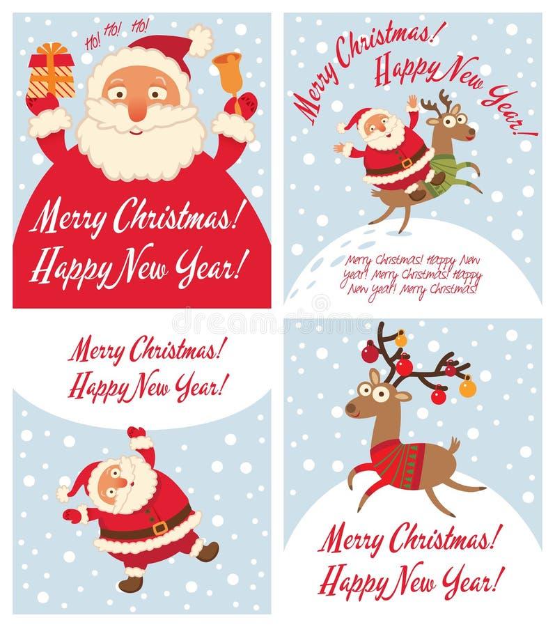 圣诞老人和圣诞节驯鹿 滑稽的漫画人物 库存例证
