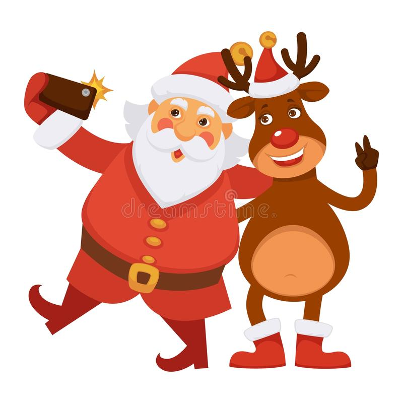 圣诞老人和极性鹿在帽子做selfie 向量例证