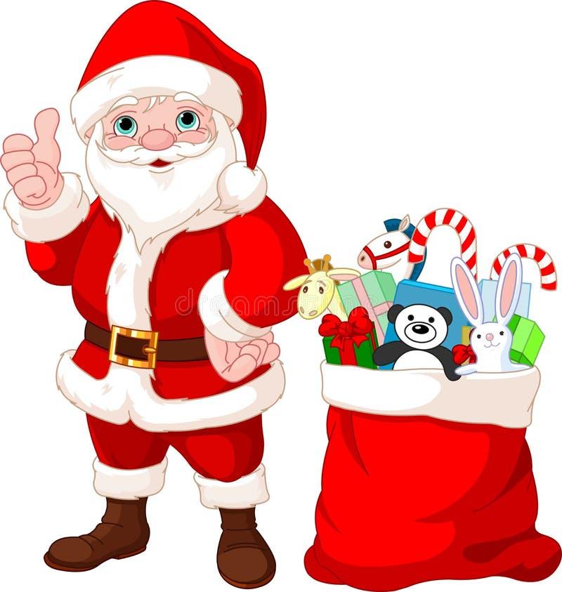 圣诞老人和礼品 向量例证