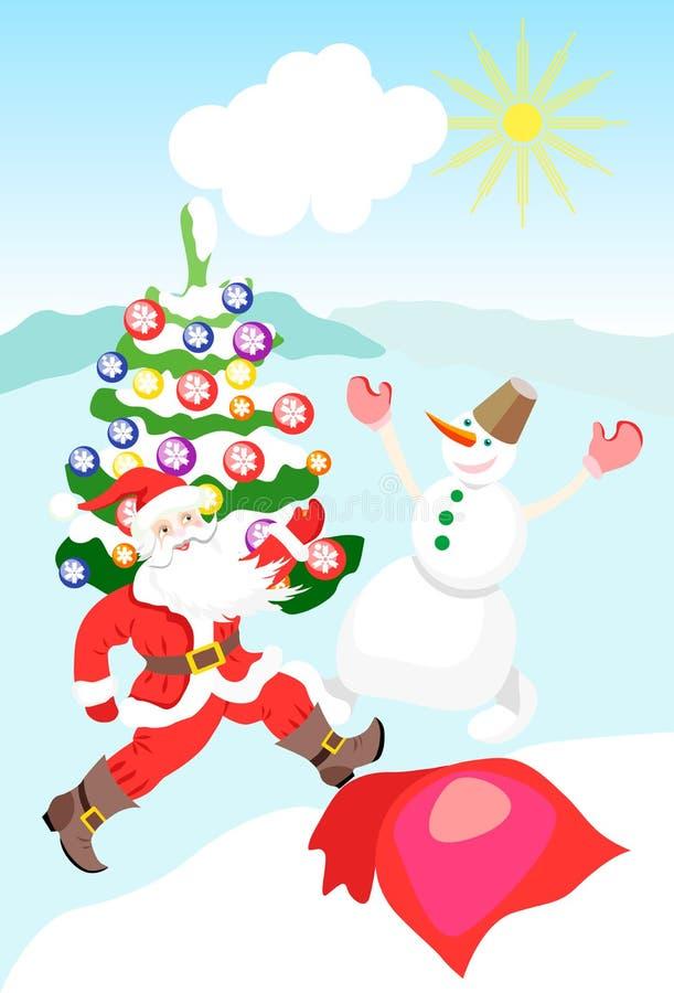 圣诞老人和雪人在圣诞树附近跳舞,庆祝新年 向量 库存例证