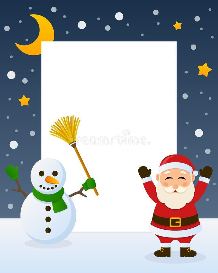 圣诞老人和雪人框架 皇族释放例证