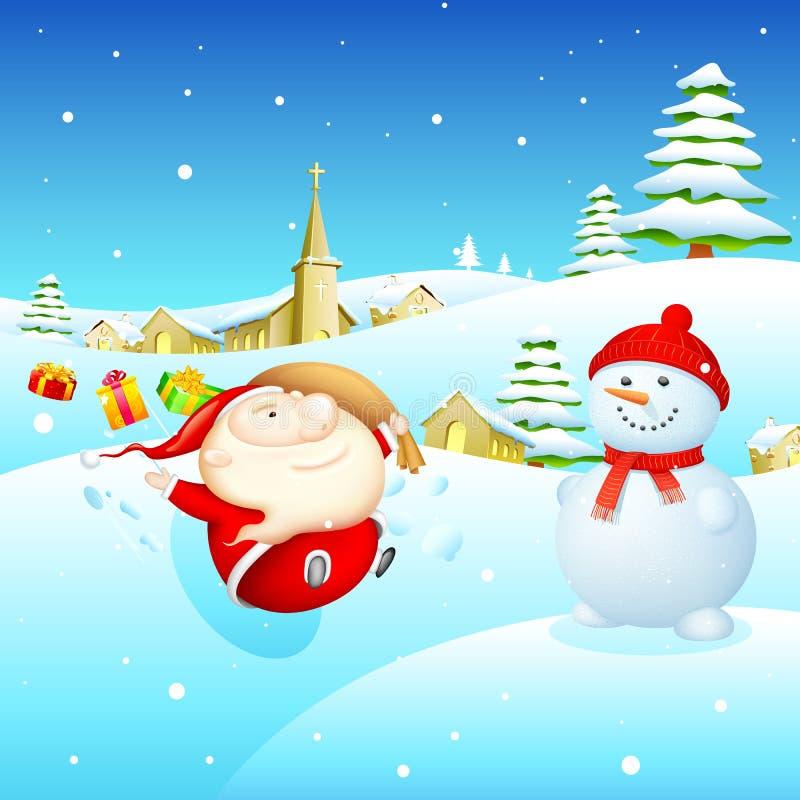 圣诞老人和雪人 皇族释放例证