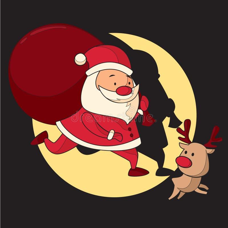 圣诞老人和驯鹿保证圣诞节礼物准时到达 免版税库存图片
