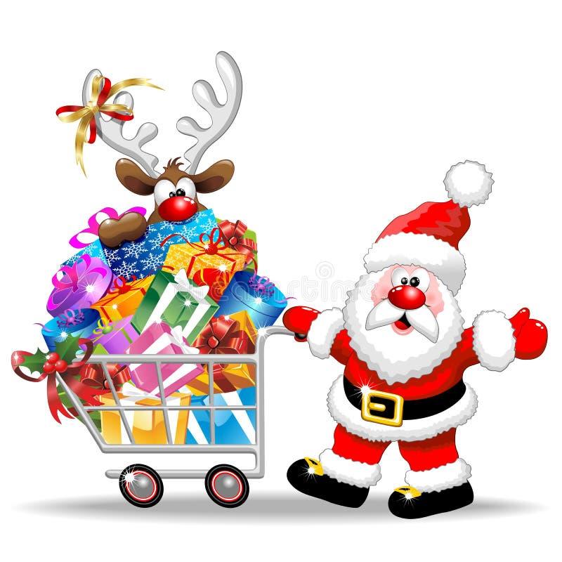 圣诞老人和驯鹿圣诞节购物车 库存例证