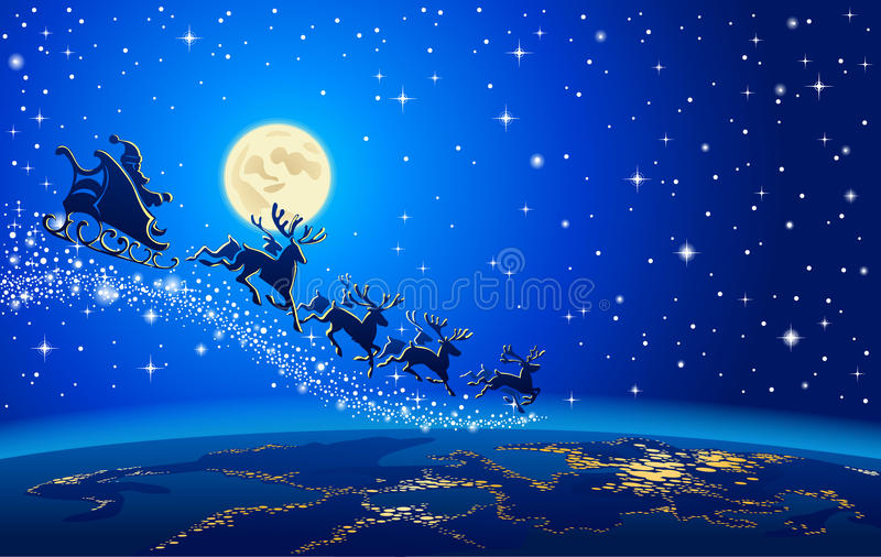 圣诞老人和驯鹿在天空 皇族释放例证