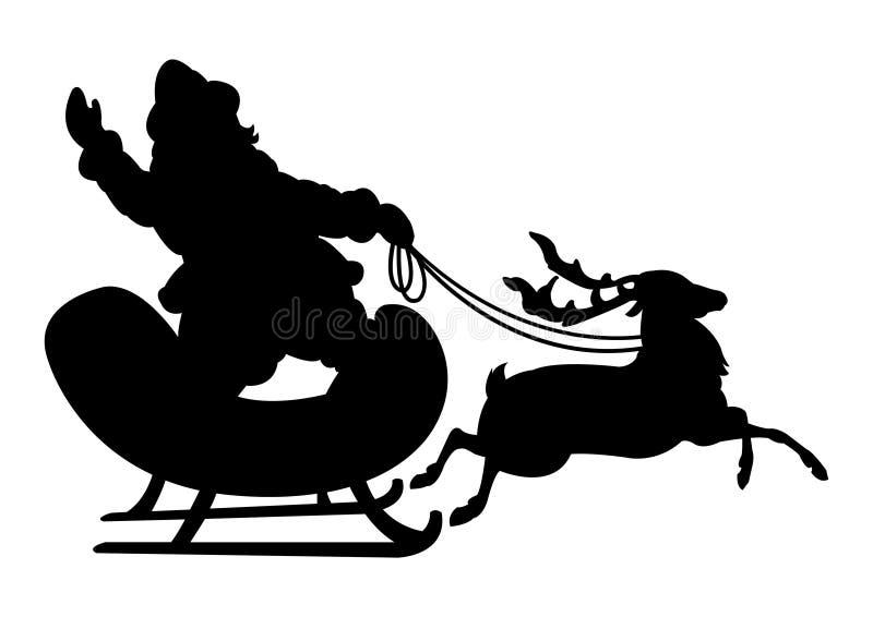 圣诞老人和驯鹿黑剪影 皇族释放例证